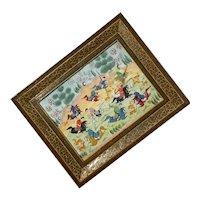 Vintage Persian Painting Khatam Inlay Art Wooden Frame