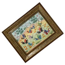 Vintage Persian Painting Khatam Inlay Art Wooden Frame
