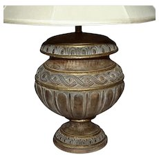 Large Partial Gilt Wood Urn Lamp