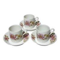 Set Of Three Richard Ginori Porcelain Demitasse Cups And Saucers