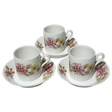 Set Of Three Richard Ginori Porcelain Demitasse Cups And Saucers
