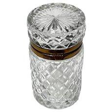 Vintage Crystal Vanity Box With Gilt Metal Mounts