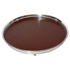 Crescent Silverplated Gallery Tray With Wood Laminate Base