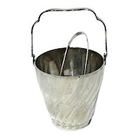 Silverplated Ice Bucket With Tongs