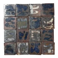 Set Of 16 Vintage Hand-Made Art Pottery Tiles
