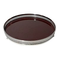 Crescent Silverplated Gallery Tray With Wood Formica Base