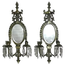 Large Vintage Pair Of Mirrored Brass Candle Sconces