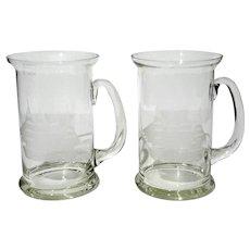 Pair Of Romanian Crystal Mugs