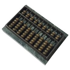 Vintage Marble And Brass Abacus Paperweight