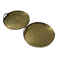 Pair Of Antique Chinese Brass Trays