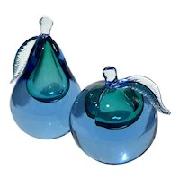 Large Murano Glass Pear And Peach Bookends