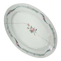 19th Century French Hand-Painted Floral Porcelain Platter