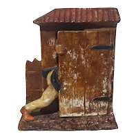 German Bisque Porcelain Outhouse Pencil Holder
