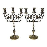 Pair Of Antique Brass Judea Sabbath Lion Candelabra