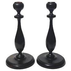 Pair Of Antique Wooden Candlesticks