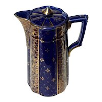 19th Century English Gilt Gold Decorated Cobalt Chocolate Pot