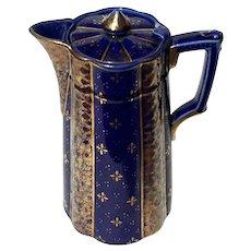 19th Century English Gilt Gold Decorated Cobalt Chocolate Pot