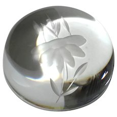 Frosted Floral Crystal Dome Paperweight