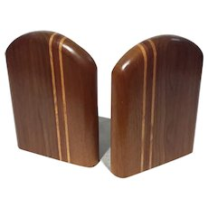 Vintage Inlaid Wood Bookends