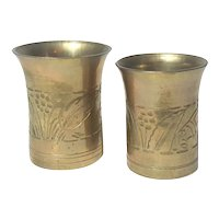 Set Of Two Hand Forged Brass Cups