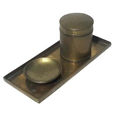 Vintage Chinese Brass Tray And Canister Set
