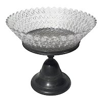 James W Tufts Triple Plate And Pressed Glass Pedestal Bowl