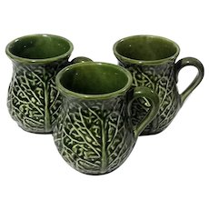 Set Of Three Majolica Pottery Cabbage Leaf Mugs