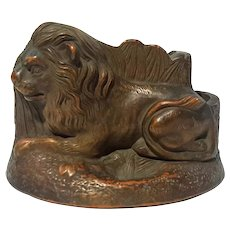 19th Century Red Clay Pottery Lion Pipe Stand