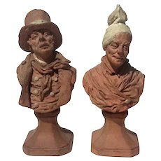 Pair Of 19th Century Signed French Terracotta Bust