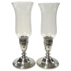 Pair Of Westmorland Sterling Silver Hurricane Candle Lamps