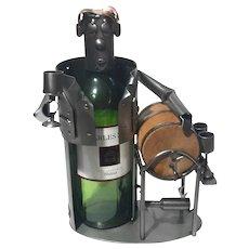 Steel And Wood Figural Wine Bottle Coaster Holder