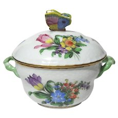 Herend Printemps Lidded Bonbon With Butterfly