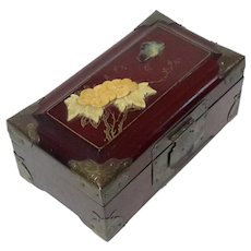 Chinese Rosewood Jewel Box With Stone Inlaid Lid