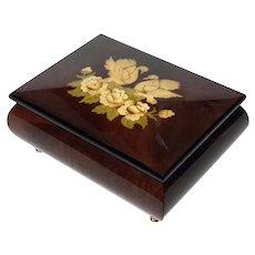 Italian Inlaid Marquetry Wood Music Box
