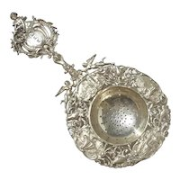 19th Century Dutch 833 Silver Tea Strainer, 1898