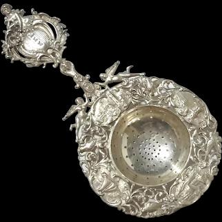 19th Century Dutch 833 Silver Tea Strainer, 1898