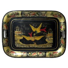 Antique Chinoiserie Decorated Tole Tray