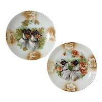 Pair Of German Leuchtenburg Porcelain Jack Russell Plates