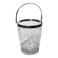 Antique Etched Glass And Silverplate Ice Bucket