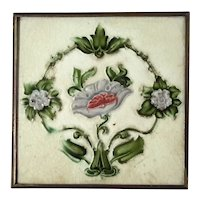 H & R Johnson LTD English Majolica Glazed Tile Trivet