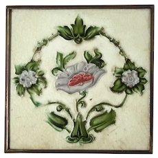 H & R Johnson LTD English Majolica Glazed Tile Trivet