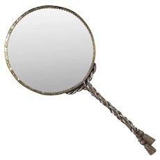 Italian Gilt Metal Vanity Hand Mirror