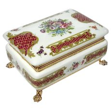 Italian Alfa Porcelain Box With Gilt Metal Mounts