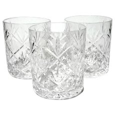 Set Of Three Tiffany Crystal Sybil Double Old Fashioned Glasses