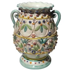 Mexican Faience Glazed Pottery Vase