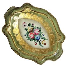 Large Italian Florentine Gilt Wood Floral Tray
