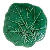 Vintage Majolica Pottery Cabbage Leaf Plate