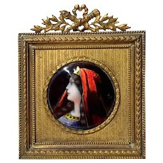 Miniature French Enamel Portrait In Gilt Bronze Frame