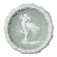 German Jasperware Plaque With Stork And Cherub
