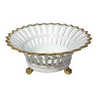 Vista Alegre Pierced Gilt White Porcelain Center Bowl